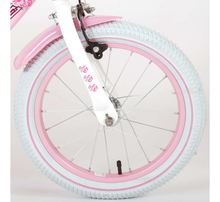 Volare Rose Kinderfiets - Meisjes - 16 inch - Roze Wit - 2 handremmen