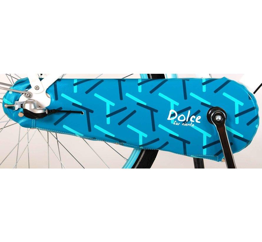 Volare Oma Dolce Kinderfiets - Meisjes - 24 inch - Wit/Blauw - Shimano Nexus 3 versnellingen - 95% afgemonteerd