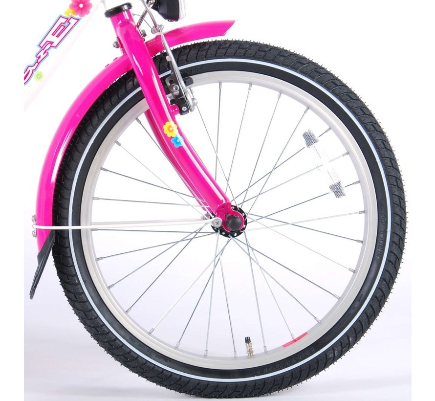 Volare Ashley Kinderfiets - Meisjes- 20 inch - Wit/Roze - 95% afgemonteerd