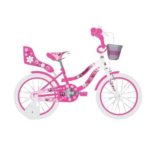 Volare Volare Lovely Kinderfiets - Meisjes - 14 inch - Roze Wit - 95% afgemonteerd