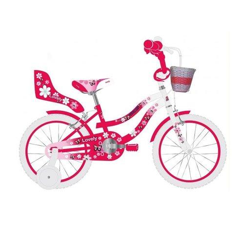 Volare Volare Lovely Kinderfiets - Meisjes - 12 inch - Rood Wit - Twee Handremmen - 95% afgemonteerd
