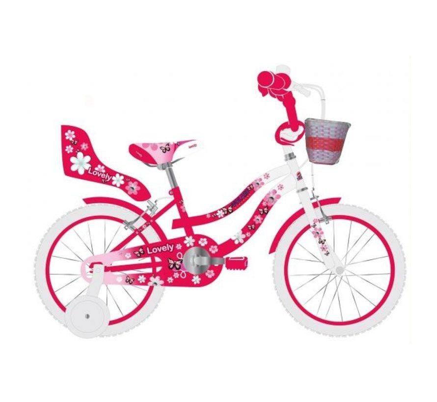 Volare Lovely Kinderfiets - Meisjes - 12 inch - Rood Wit - Twee Handremmen - 95% afgemonteerd