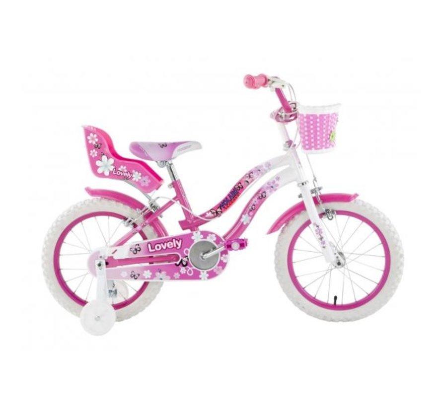 Volare Lovely Kinderfiets - Meisjes - 16 inch - Roze Wit - Twee Handremmen - 95% afgemonteerd
