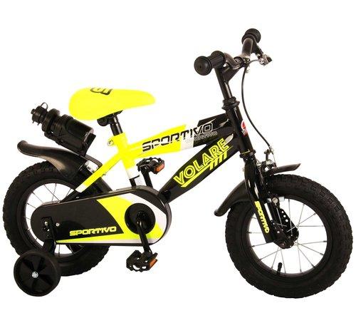 Volare Volare Sportivo Kinderfiets - Jongens - 12 inch - Neon Geel Zwart - 95% afgemonteerd