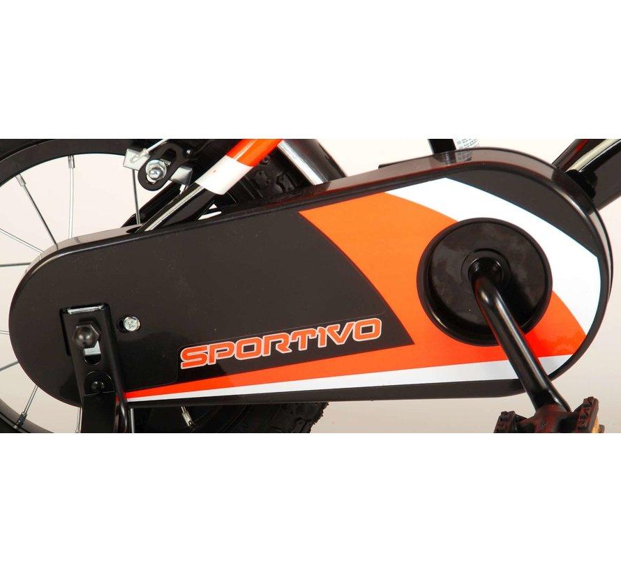 Volare Sportivo Kinderfiets - Jongens - 12 inch - Neon Oranje Zwart - Twee Handremmen - 95% afgemonteerd