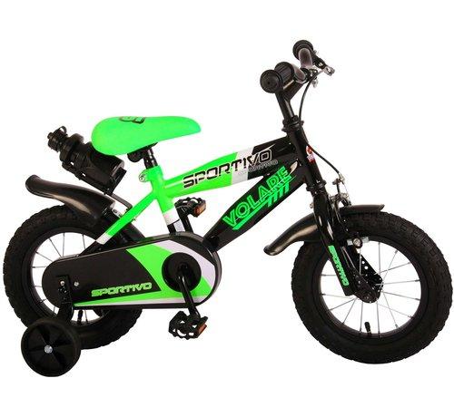 Volare Volare Sportivo Kinderfiets - Jongens - 12 inch - Neon Groen Zwart - 95% afgemonteerd