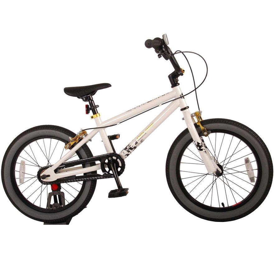 Volare Cool Rider Kinderfiets - Jongens - 18 inch - Wit - twee handremmen - 95% afgemonteerd - Prime Collection