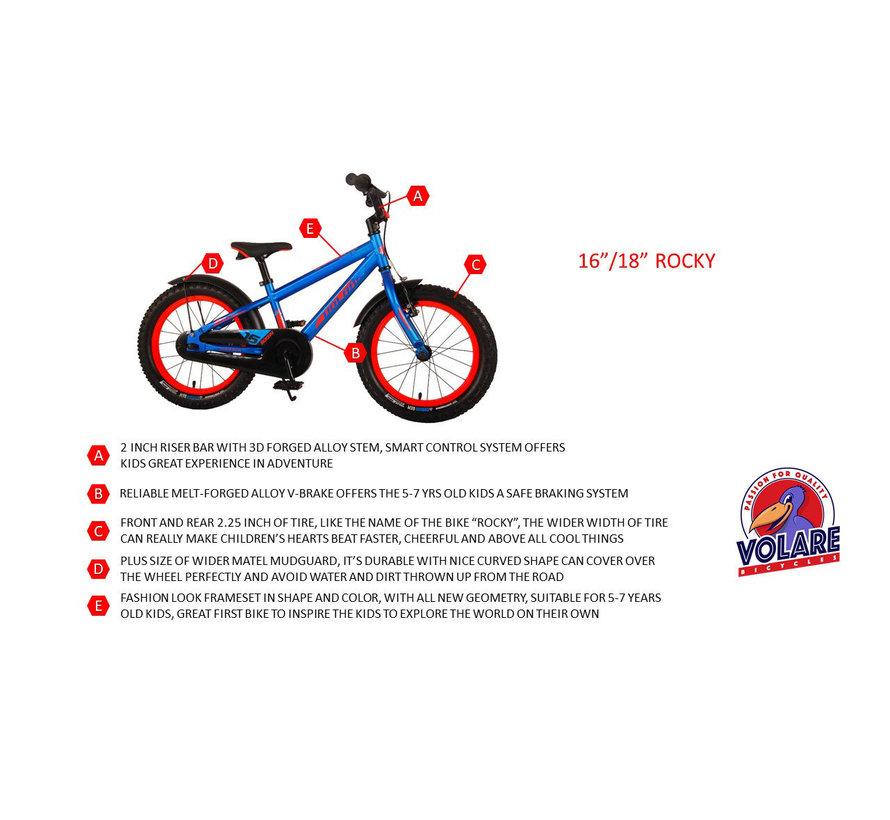 Volare Rocky Kinderfiets - 16 inch - Zwart Blauw - 95% afgemonteerd - Prime Collection