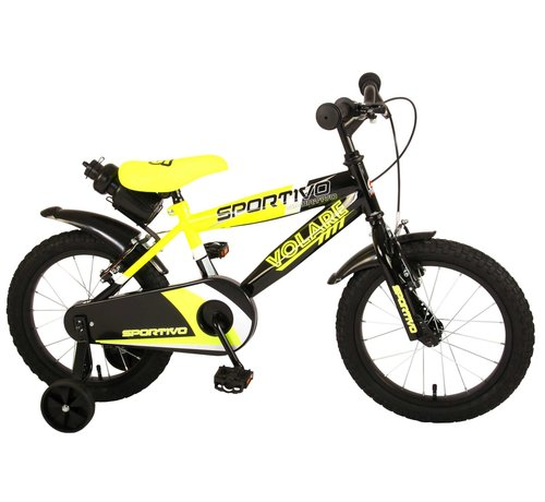 Volare Volare Sportivo Kinderfiets - Jongens - 16 inch - Neon Geel Zwart - Twee Handremmen - 95% afgemonteerd
