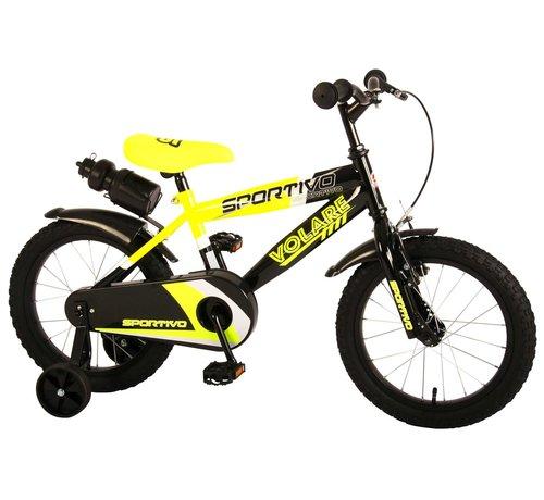 Volare Volare Sportivo Kinderfiets - Jongens - 16 inch - Neon Geel Zwart - 95% afgemonteerd