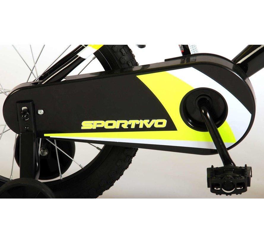 Volare Sportivo Kinderfiets - Jongens - 16 inch - Neon Geel Zwart - 95% afgemonteerd