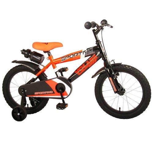 Volare Volare Sportivo Kinderfiets - Jongens - 16 inch - Neon Oranje Zwart - 95% afgemonteerd