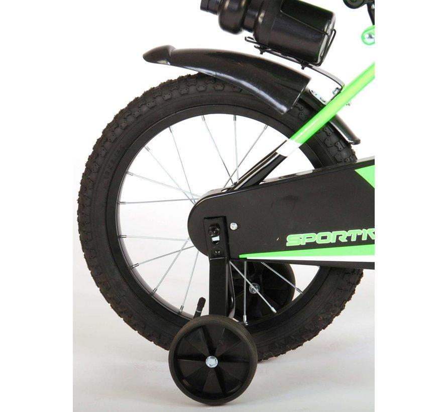 Volare Sportivo Kinderfiets - Jongens - 16 inch - Neon Groen Zwart - 95% afgemonteerd