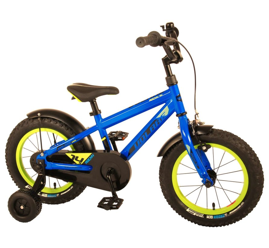 Volare Rocky Kinderfiets - Jongens - 14 inch - Blauw - 95% afgemonteerd - Prime Collection