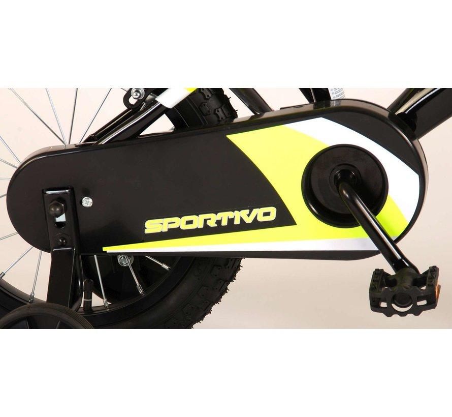 Volare Sportivo Kinderfiets - Jongens - 14 inch - Neon Geel Zwart - Twee Handremmen - 95% afgemonteerd