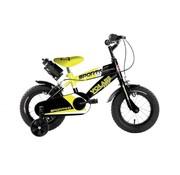 Volare Volare Sportivo Kinderfiets - Jongens - 12 inch - Neon Geel Zwart - Twee Handremmen - 95% afgemonteerd