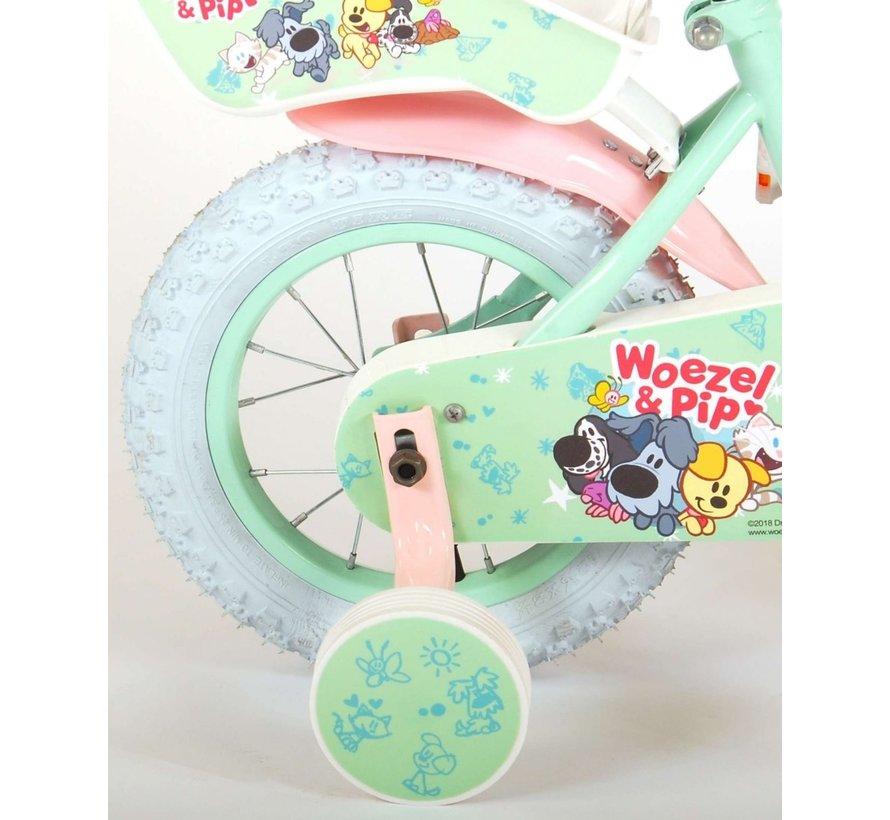 Woezel & Pip Kinderfiets - Meisjes - 12 inch - Mint/Roze
