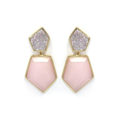 MELANIE AULD DOUBLE STONE EARRINGS IN DURZY AND PINK OPAL