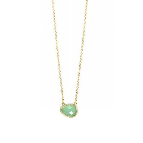 MELANIE AULD PAVE NATURAL STONE NECKLACE IN CHALCEDONY