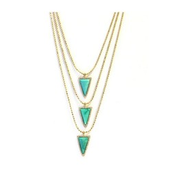 3 TIER PAVE TRIANGLE NECKLACE IN TURQUOISE
