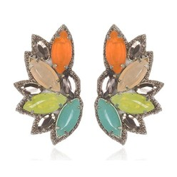 RIO DE JANIERO BUTTON EARRINGS IN CITRUS