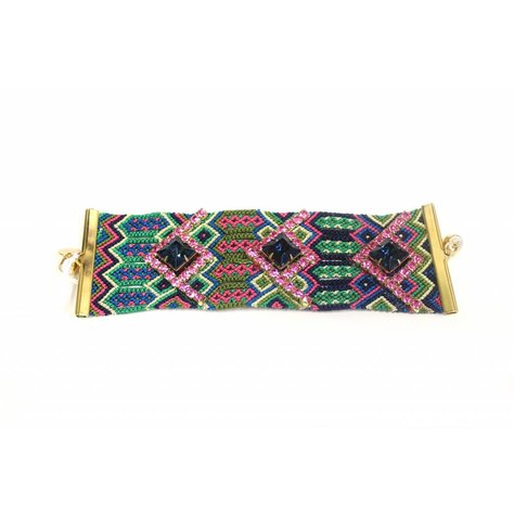 GYPSIES AND DEBUTANTES WIDE FRIENDSHIP BRACELET IN GREEN