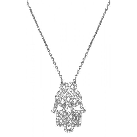 LUCKY EYES HAMSA NECKLACE IN WHITE GOLD