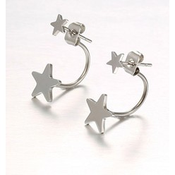 DOUBLE TROUBLE STAR EARRING IN SILVER