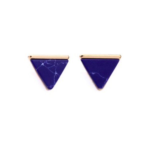 MARBLE TRIANGLE STUD EARRING IN BLUE