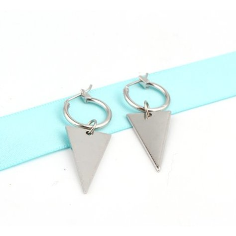 CIRCLE TRIANGLE EARRINGS IN SILVER