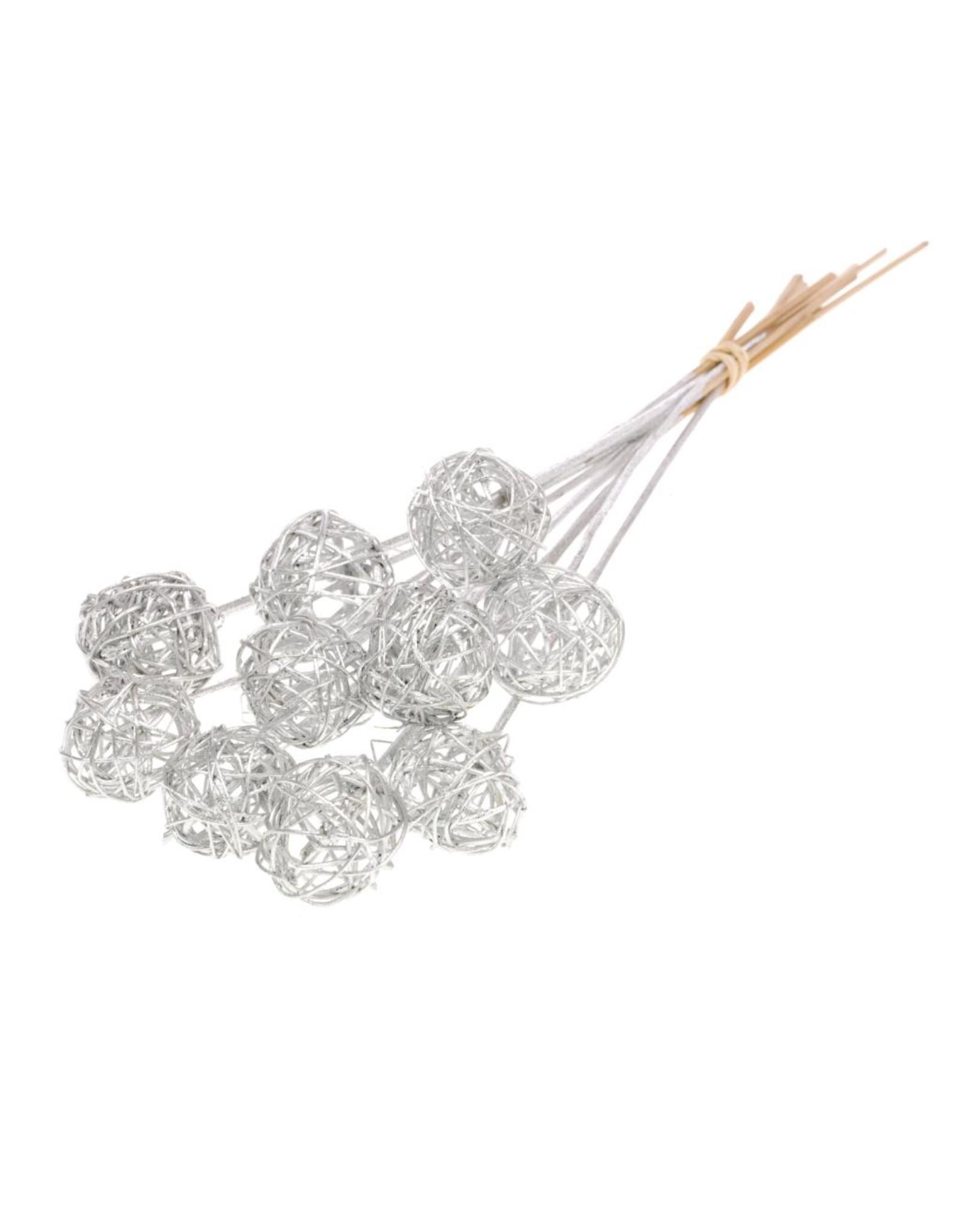 Brunch ball 5cm o/s 10pc silver silver glitter x 15