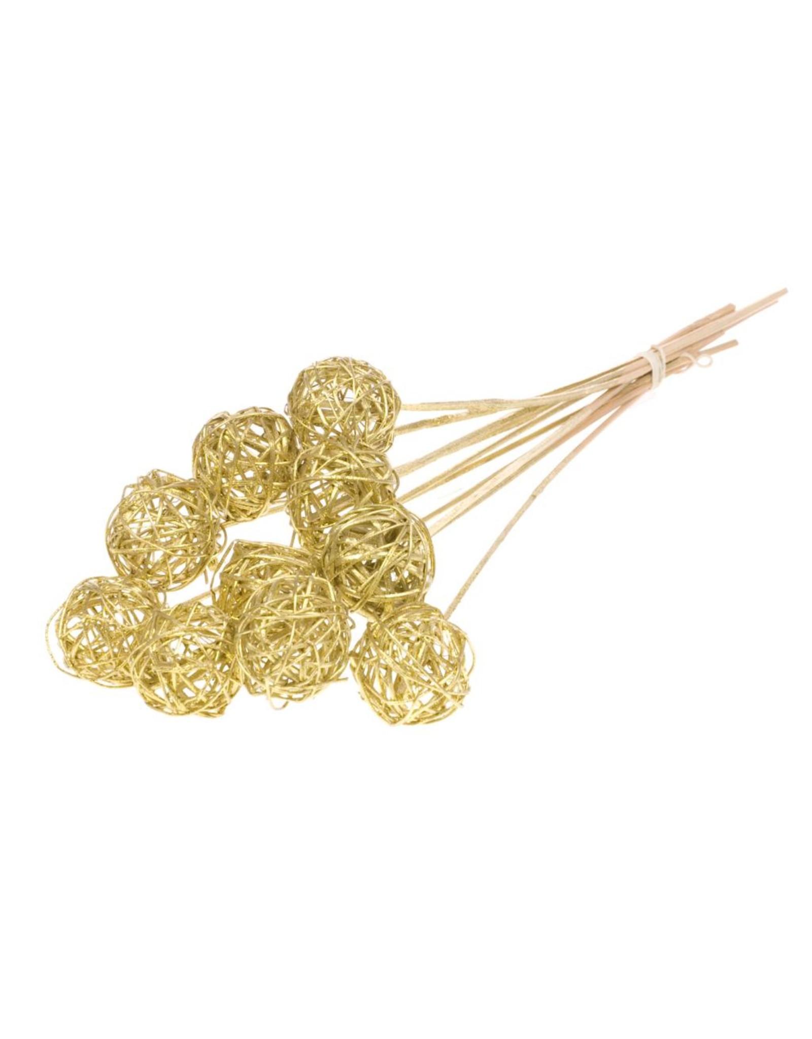 Brunch ball 5cm o/s 10pc gold gold glitter x 18