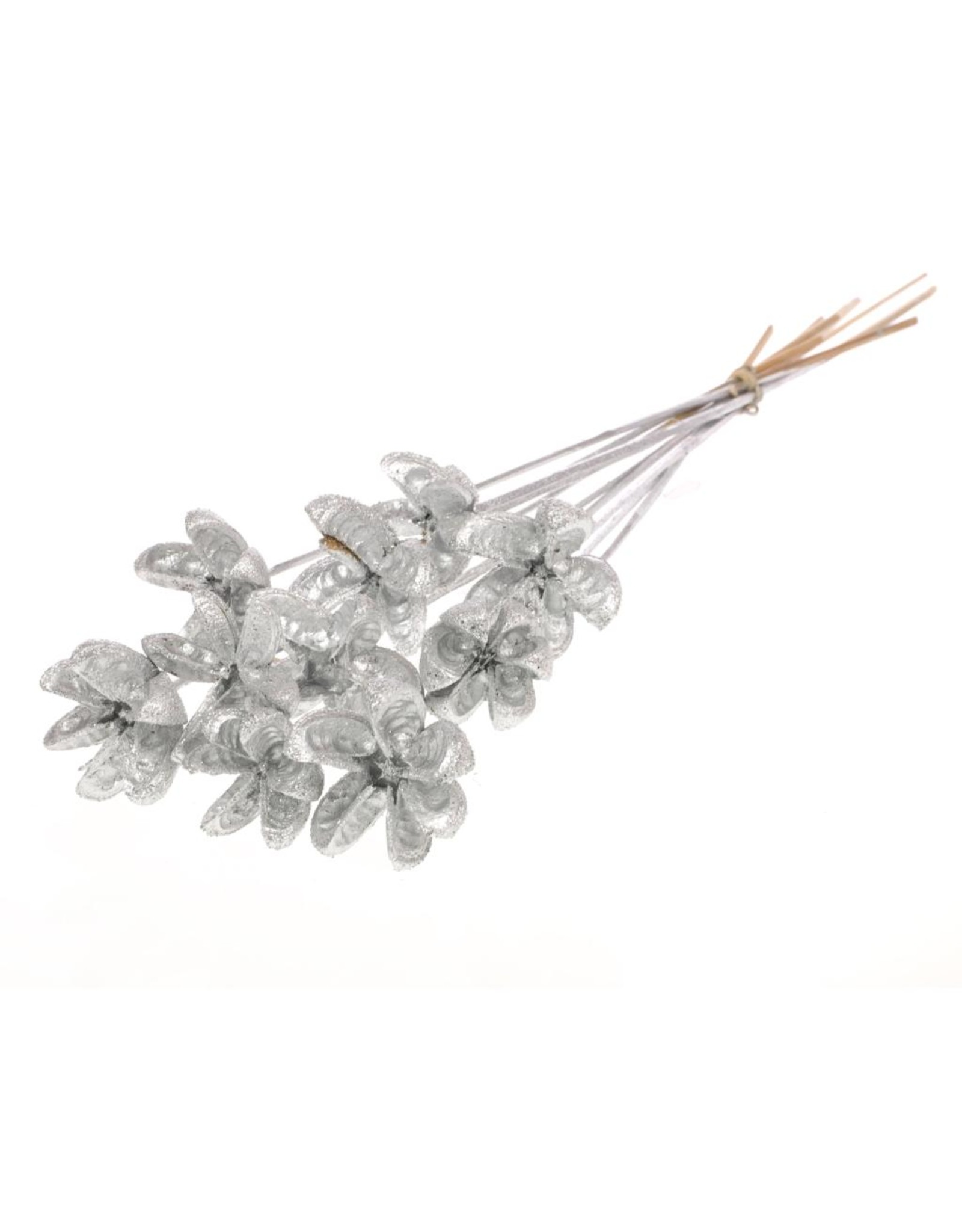 Cartoos Flower on stem 10pc silver silver glitter x 15