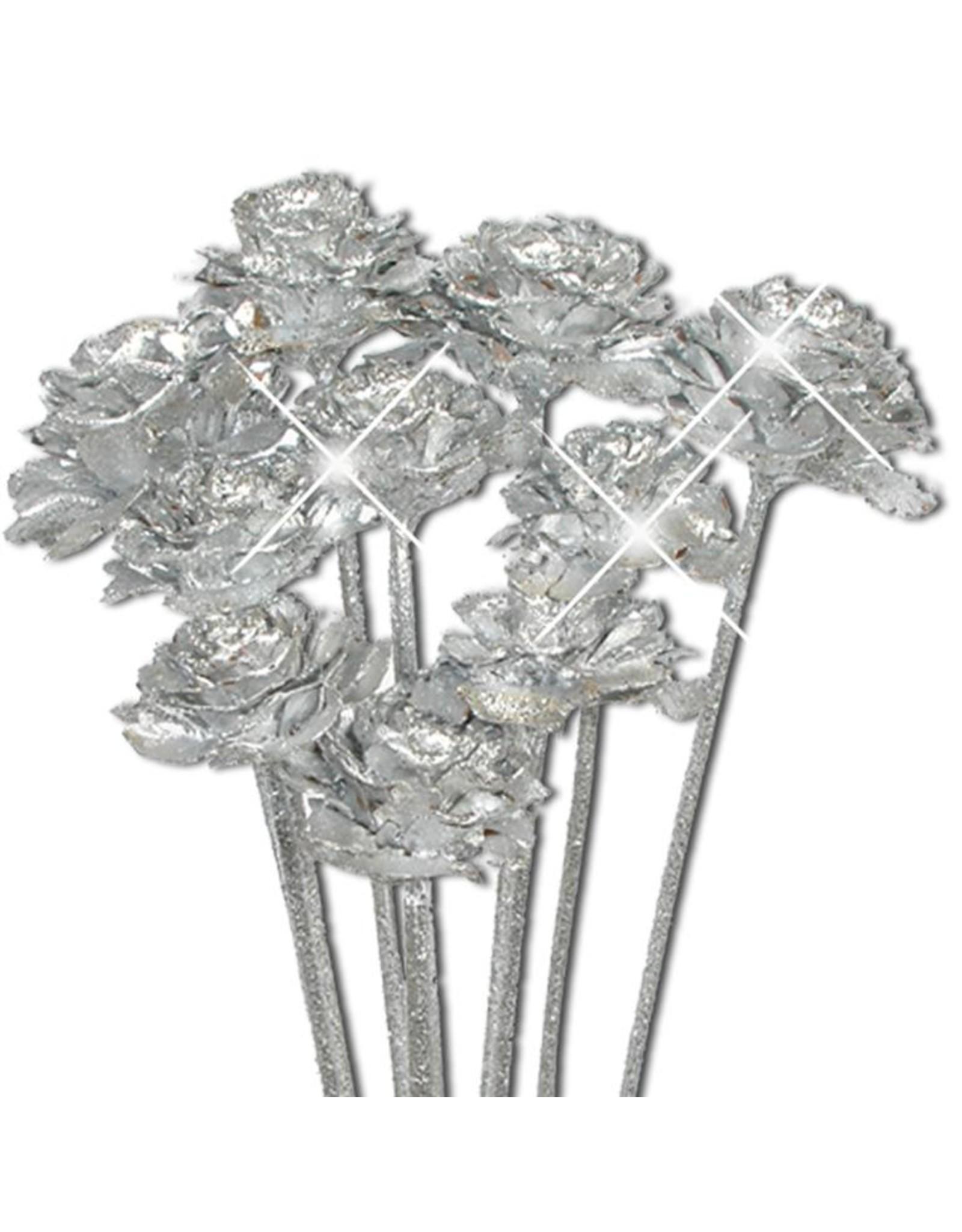 Cedar rose o/s 10pc silver silver glitter x 25