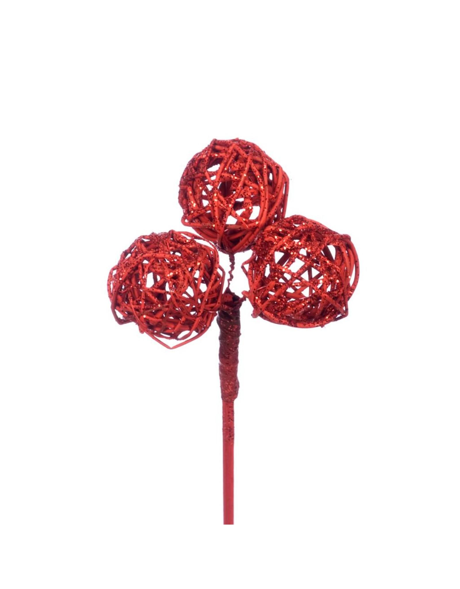 Brunch ball mini 3pc on stem 10pc red red glitter x 18