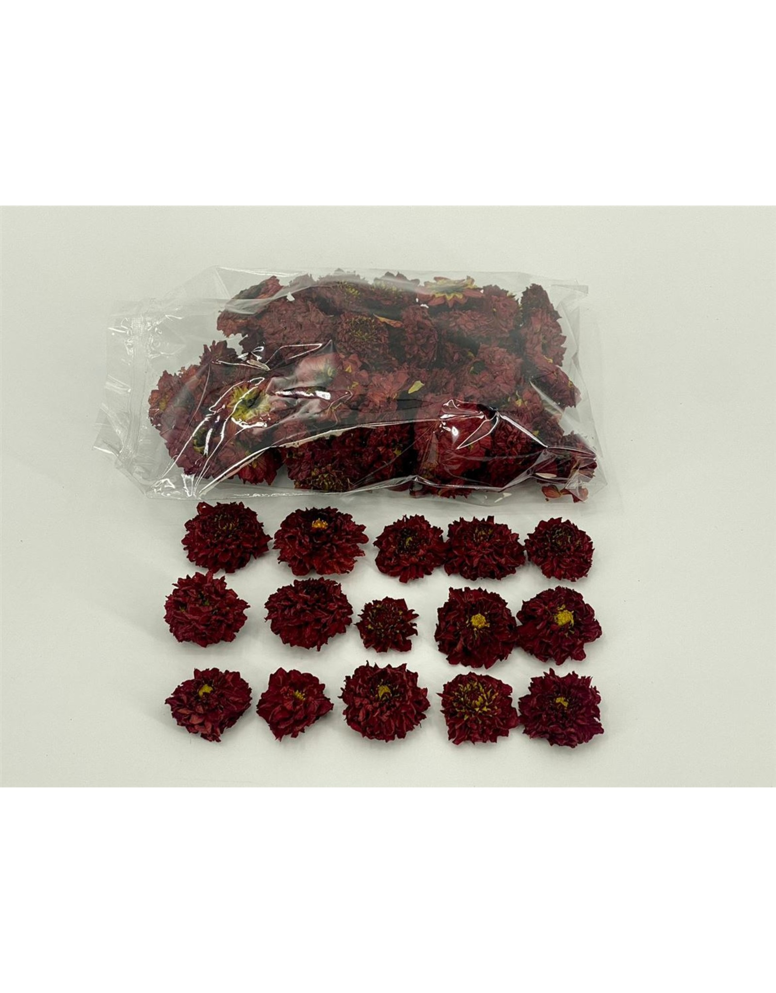 Dried Dahlia Heads Red Bag (50-60 Heads) x 1