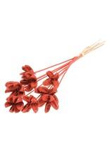 Cartoos Flower on stem 10pc red red glitter x 15