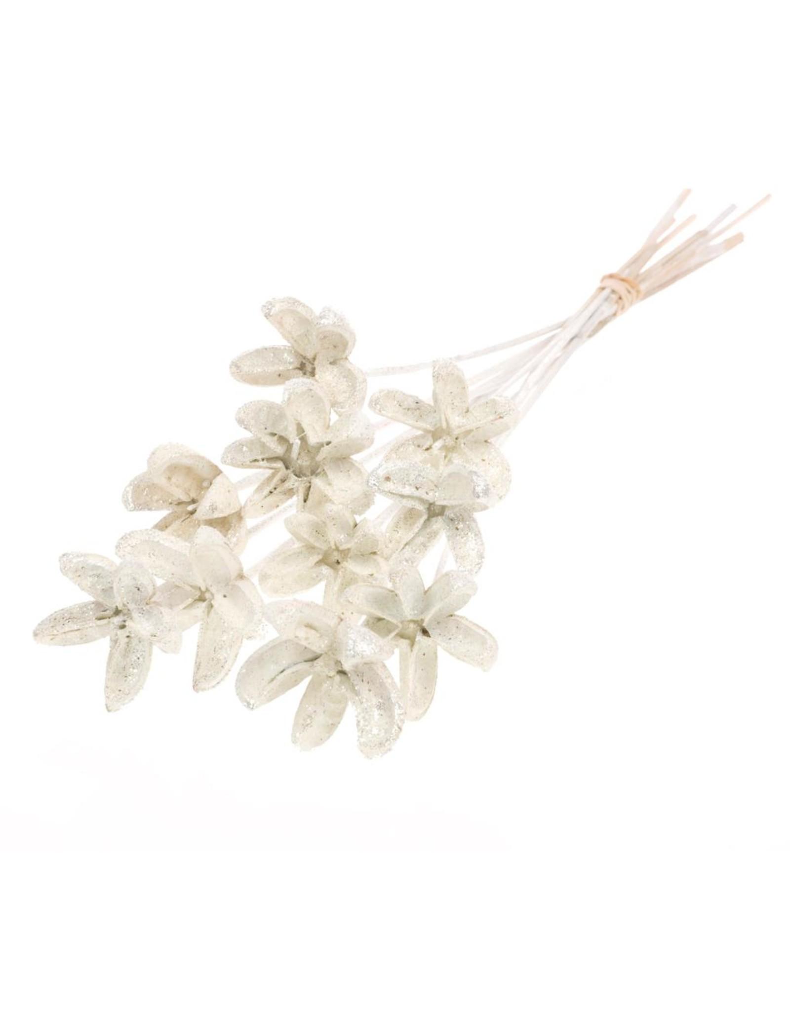 Cartoos Flower on stem 10pc white silver glitter x 15