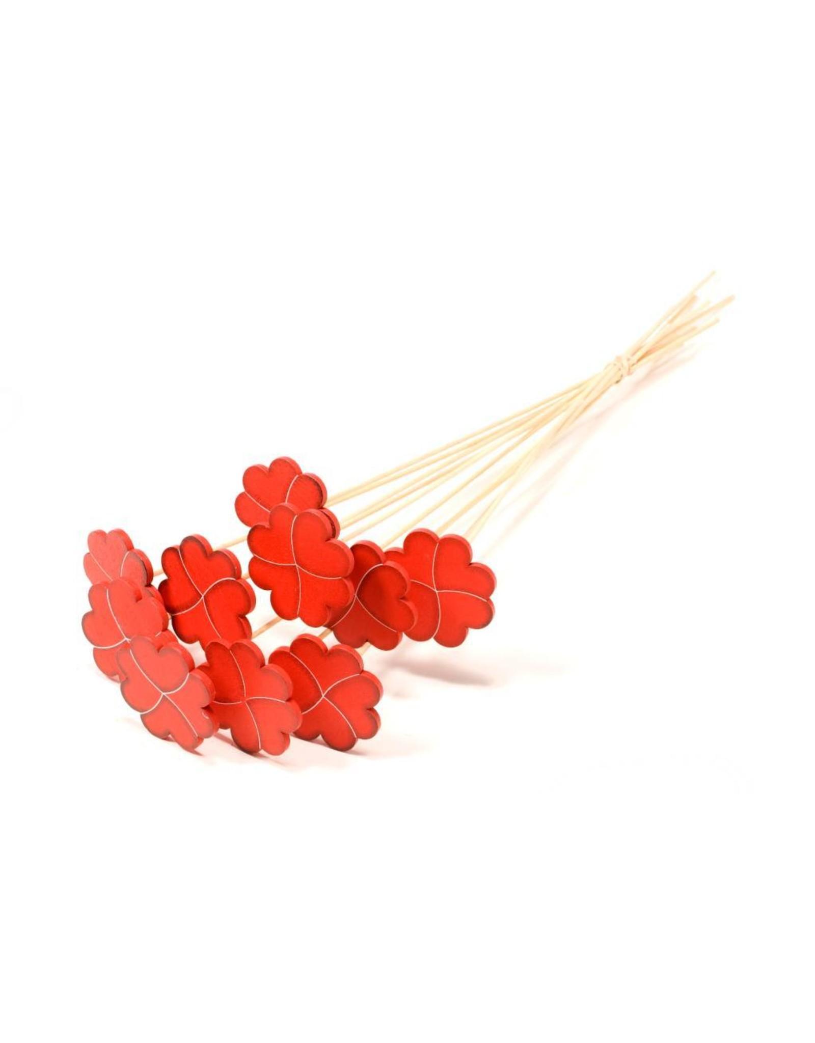 Heart clover 7cm wood flat on stem 10pc SB red x 3