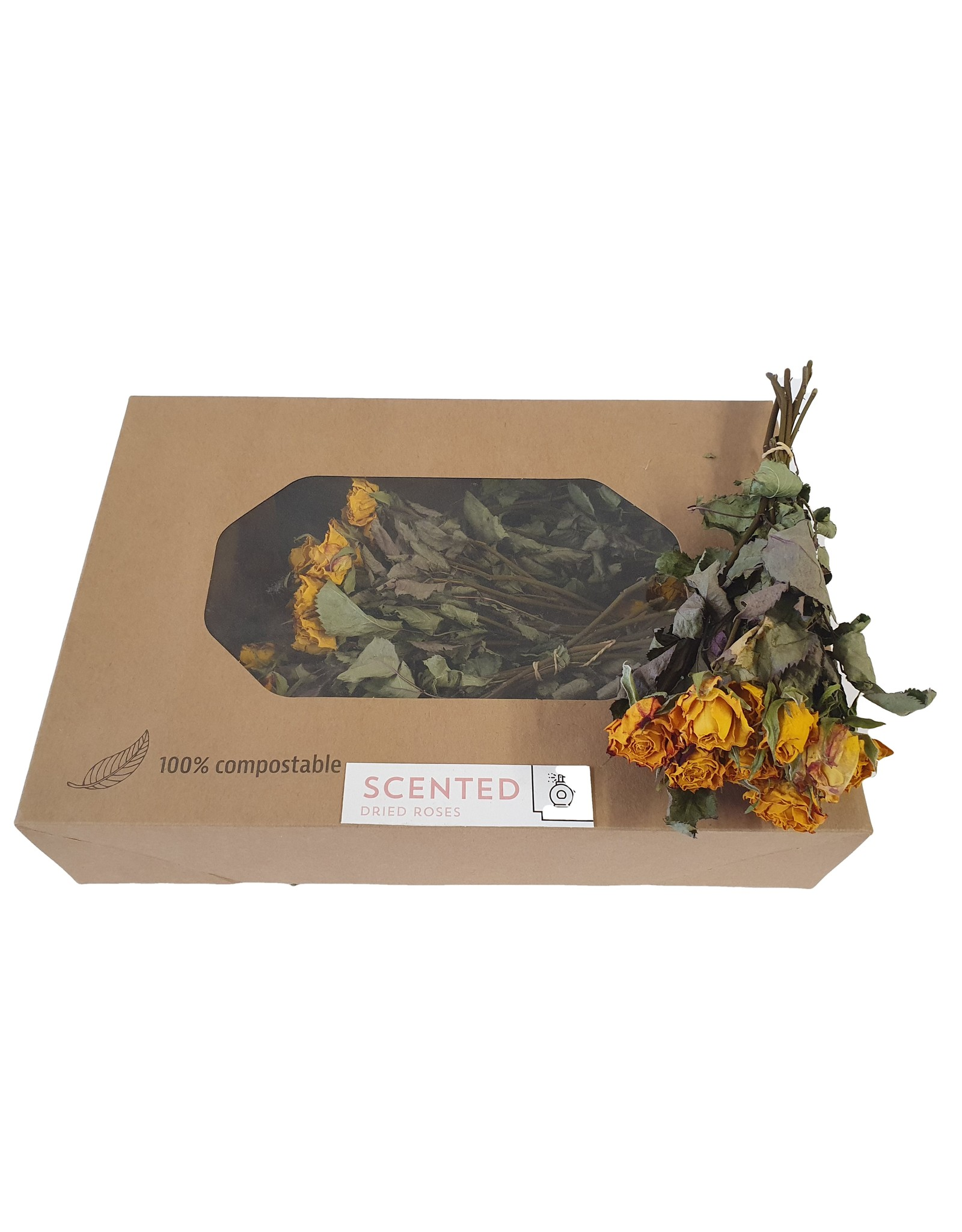 Dried scented roses 10pc per bunch Yellow-Red x 8