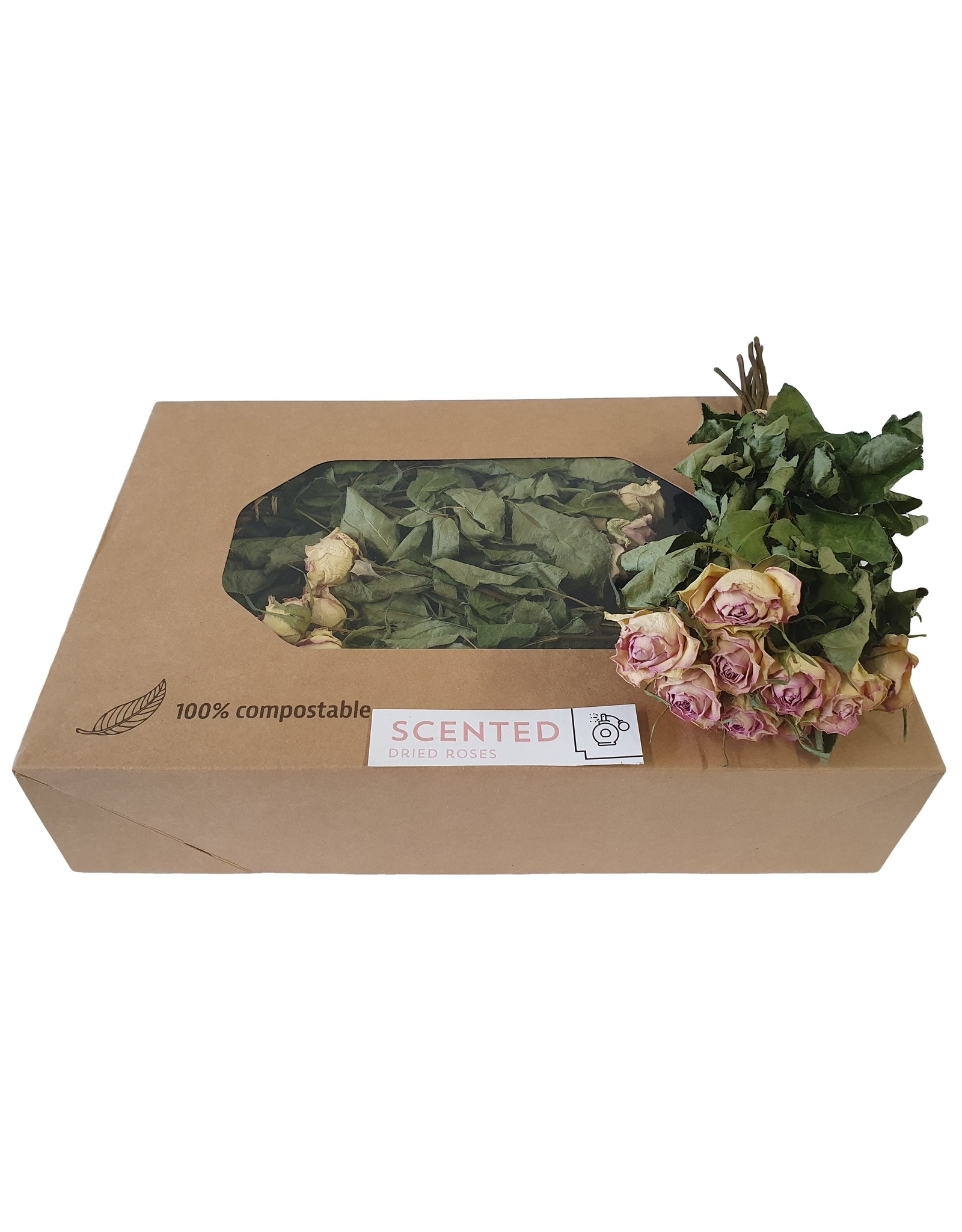 QC Dried scented roses 10pc per bunch Pink x 8