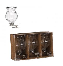 4AT Glas Minivaas Bol/Clip Ø1/4*6Cm X3 Per Stuk