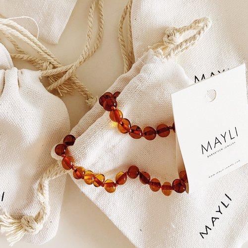 Mayli Jewels Barnsteen Ketting - Amber Cognac