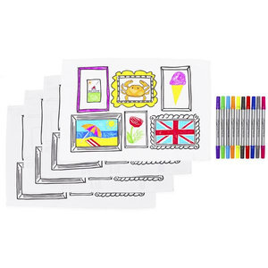 Eatsleepdoodle Placemat Doodle (set van 4) incl. Stiften