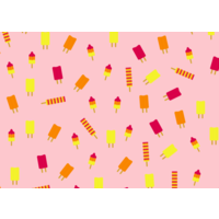Ansichtkaart Roze met Ijsjes