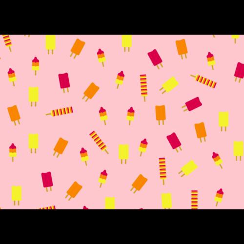Jut & Julie Ansichtkaart Roze met Ijsjes
