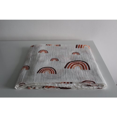 Jut & Julie Hydrofiele doek XL   Regenboog in aardekleuren