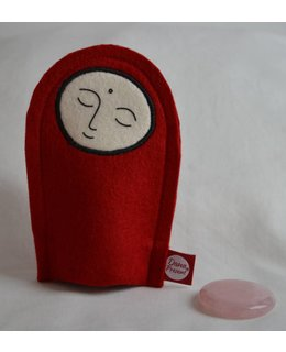 Jizo with Wishing Stone – Rose quartz