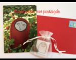 2 wenskaarten  met  edelsteentjes  + postzegels