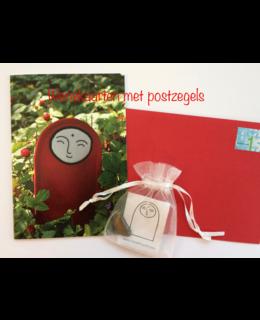 Set van 2 wenskaarten met postzegels erbij